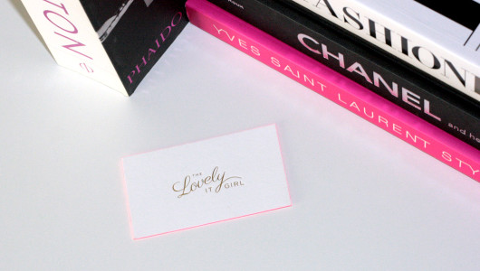 The Lovely It Girl logo biz card gold foil by Erika Brechtel