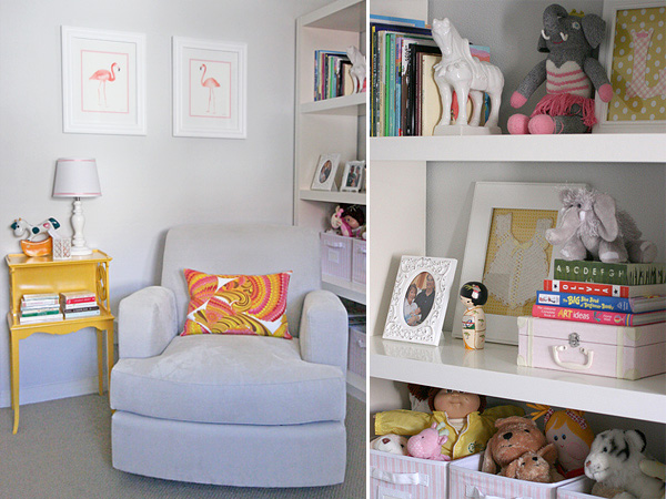 A pink & yellow safari: reading nook