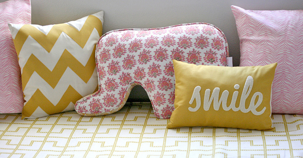 A pink & yellow safari: pillows