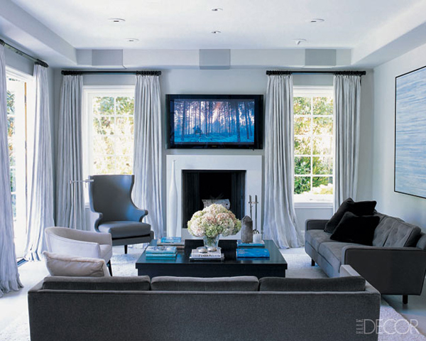 Monique Lhuillier family room Elle Decor