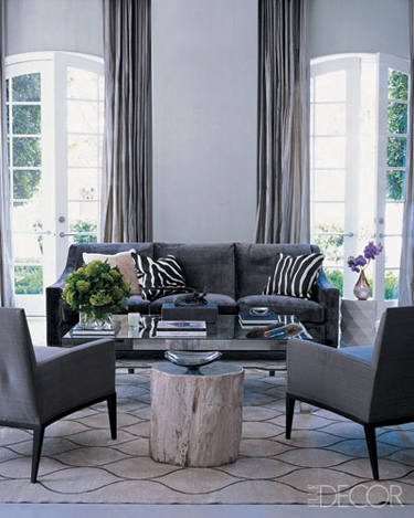 Monique Lhuillier living room Elle Decor