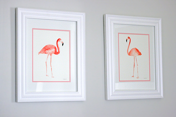 Etsy purchase: flamingo watercolor paintings