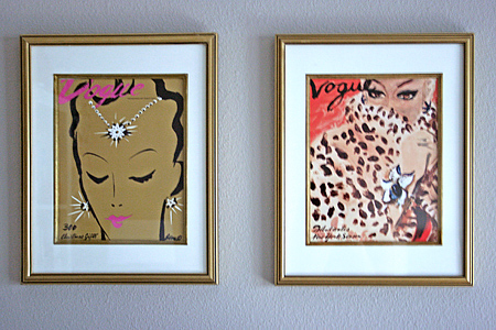 Office Gallery Wall: vintage Vogue illustrated covers