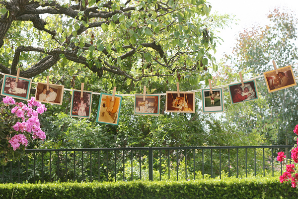 Vintage Chic Baby Boy Shower: baby photo clothesline