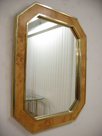 vintage large burlwood brass mirror on Etsy