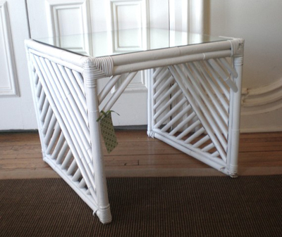 vintage painted rattan table mirrored table GreenZebre on Etsy