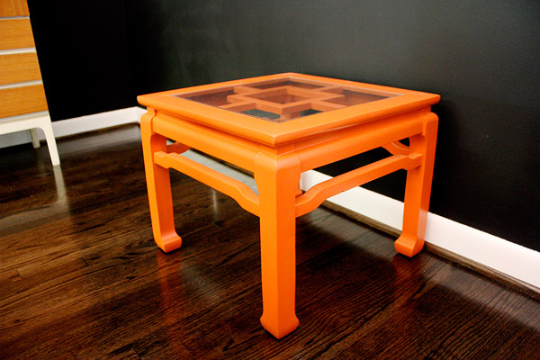 ModFruGal DIY orange lacquer table
