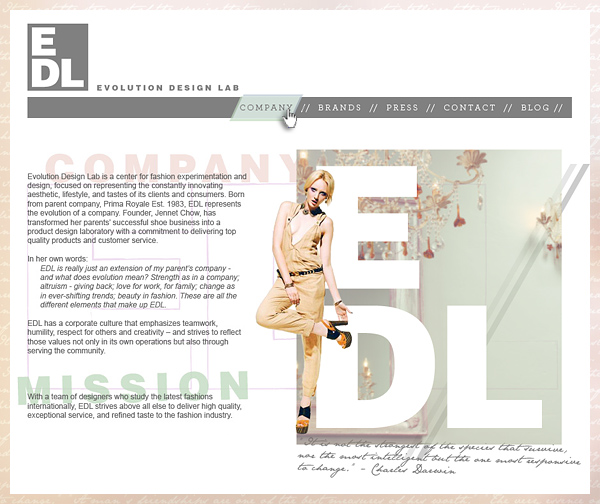 Evolution Design Lab: site design