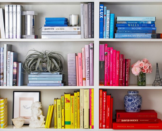 colorful book styling via one kings lane