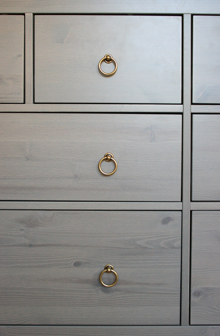 Jackson's nursery: IKEA dresser with new pulls
