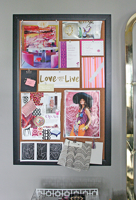 small shop office: pin board
