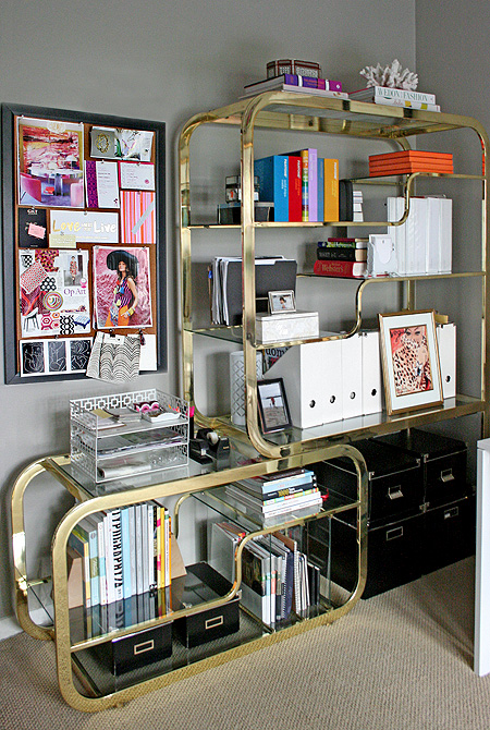 small shop office: 1970s brass étagère