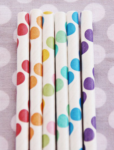 rainbow dots straws by shop sweet lulu