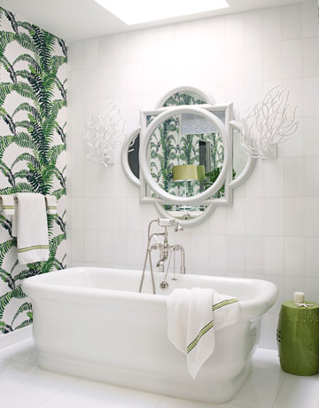 tropical fern wallpaper white bathroom