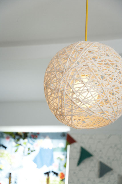 yarn pendant lamp (Amanda Kingloff in Parents June 2011)