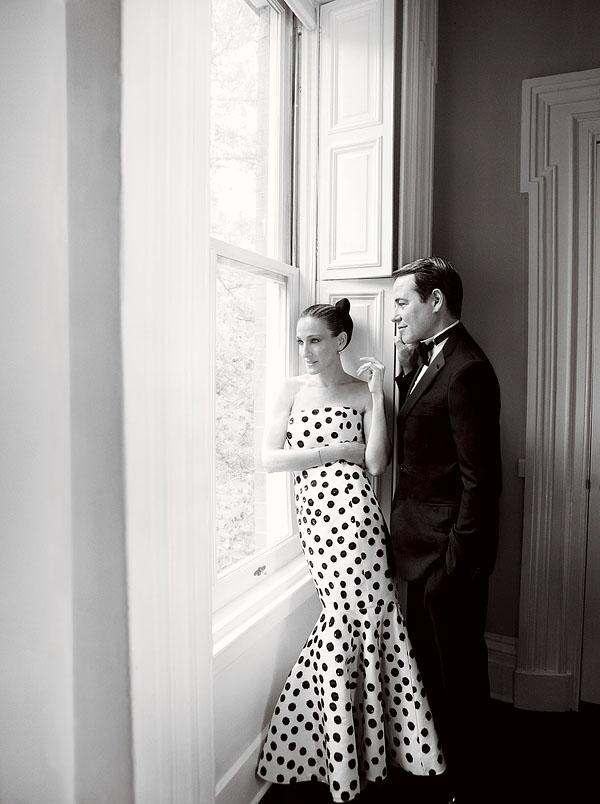 SJP at home in an Oscar de la Renta dress, Vogue