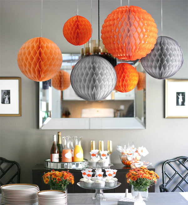 gray-white-orange-baby-shower-table