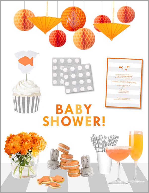 gray-white-orange-baby-shower