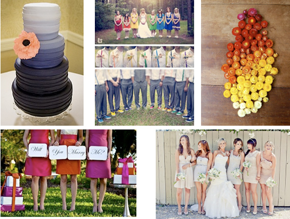 No more boring color schemes for weddings Brides have the whole rainbow to