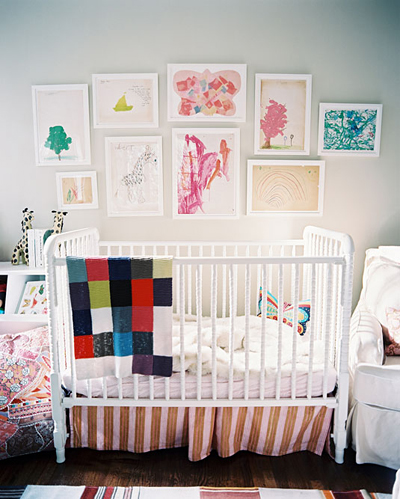 personalizing a nursery: kids' artwork by Betsy Burnham in Lonny