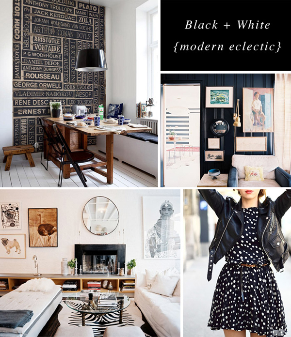 black white eclectic moodboard