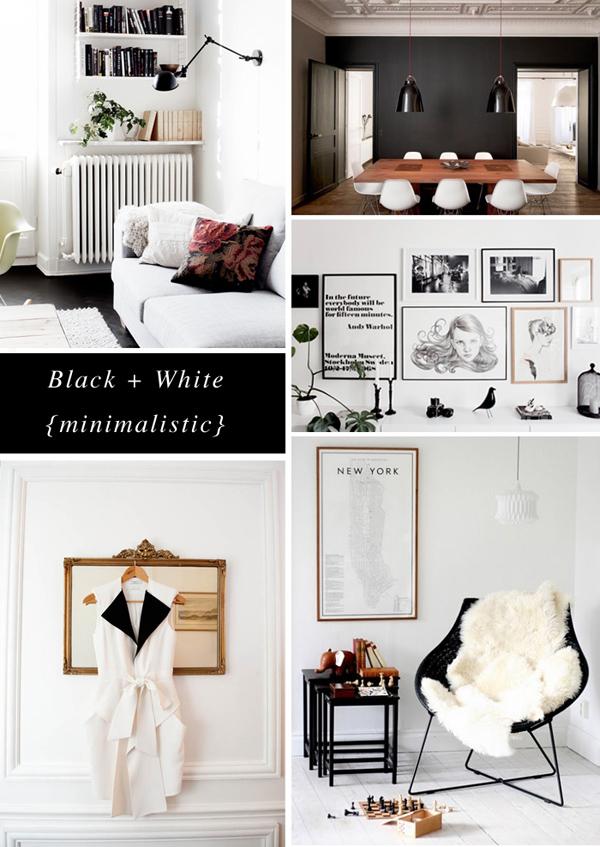 black white minimalistic moodboard