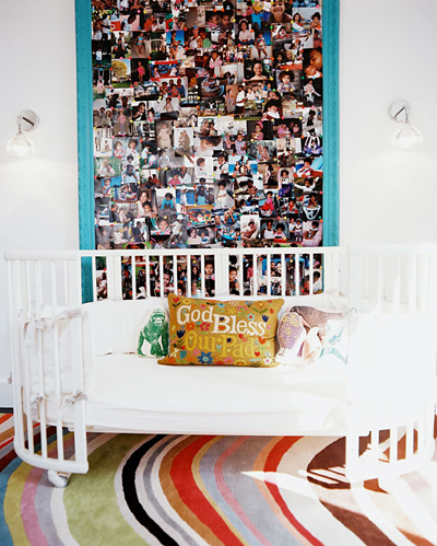 personalizing a nursery: photo wall by Laura Day in Lonny