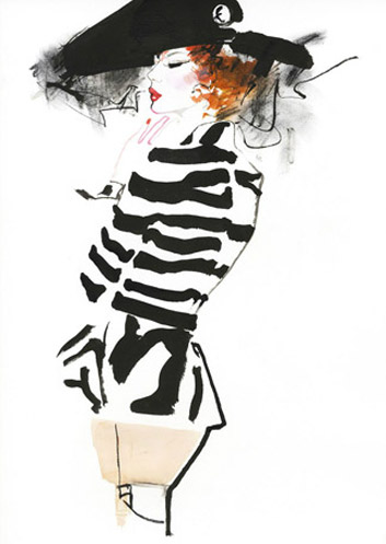 david-downton-fashion-illustration-black-white-striped-jacket-hat