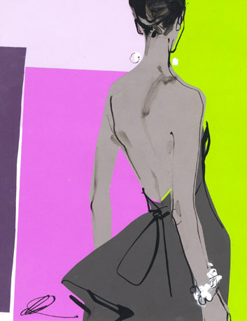 david-downton-fashion-illustration-gray-dress-purple-green