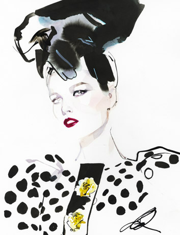 david-downton-fashion-illustration-polka-dot-hat