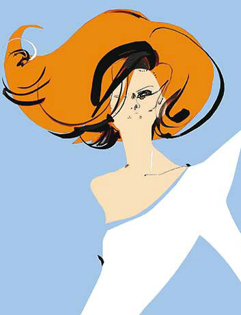 david-downton-fashion-illustration-white-dress-red-hair