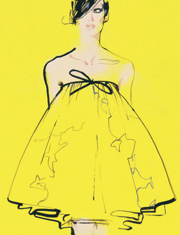 david-downton-fashion-illustration-yellow-babydoll