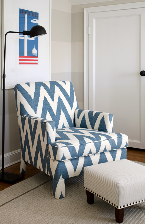 Finnian's Moon D.C. Design House blue zig zag ikat chair