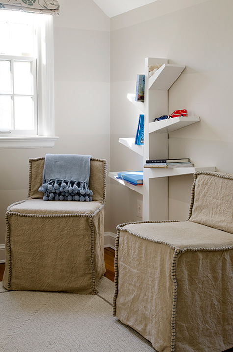 Finnian's Moon D.C. Design House 2012 linen chairs white tree bookshelf