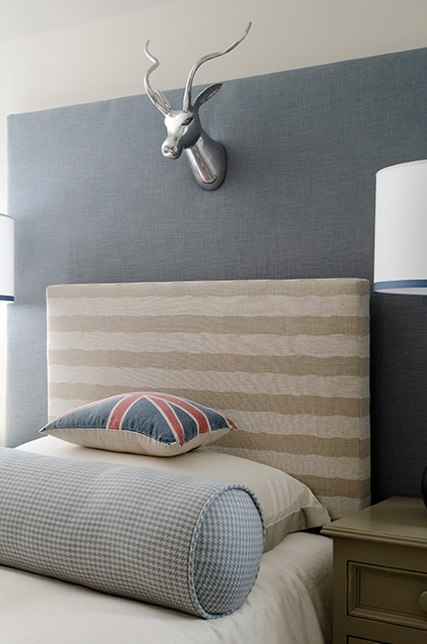 Finnian's Moon D.C. Design House striped headboard silver deer head