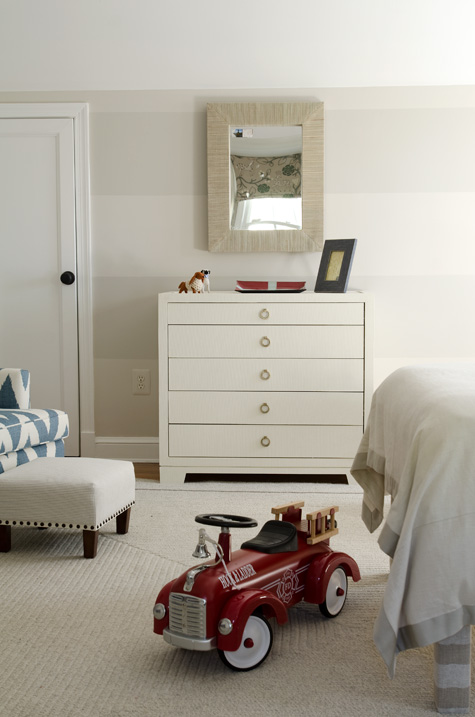 Finnian's Moon D.C. Design House white dresser striped walls