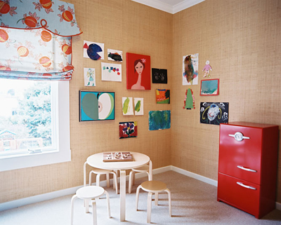 personalizing a nursery: kids' artwork by Palmer Weiss in Lonny
