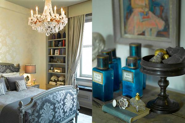 Kishani Perera bedroom, French traditional, brocade, gray, chandelier
