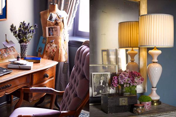 Kishani Perera desk vignette, lavender, lilac, antique