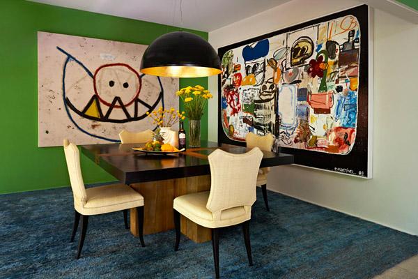 Kishani Perera dining room, green blue, abstract art, contemporary