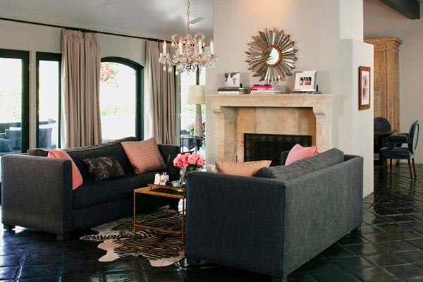 Kishani Perera living room, black spanish tile, gray white pink zebra