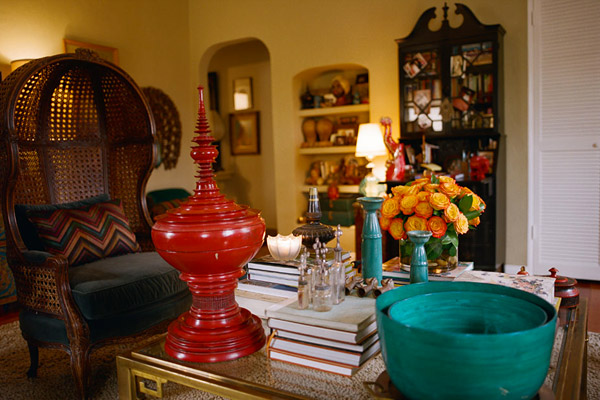 Kishani Perera living room, eclectic, colorful, vintage, warms red gold