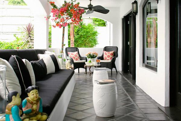 Kishani Perera outdoor patio, black white coral