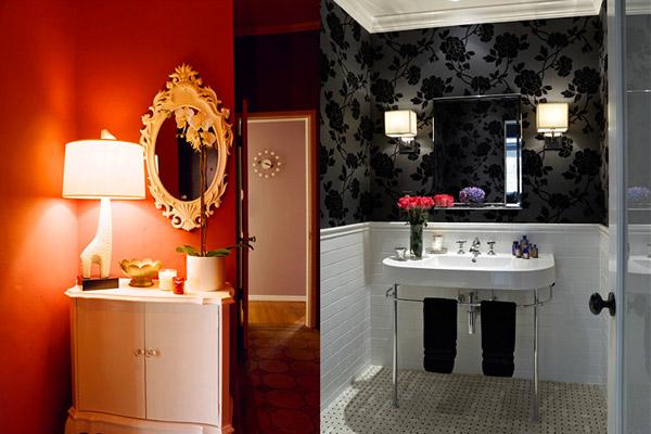 Kishani Perera vignettes, red foyer, black white bathroom, floral wallpaper