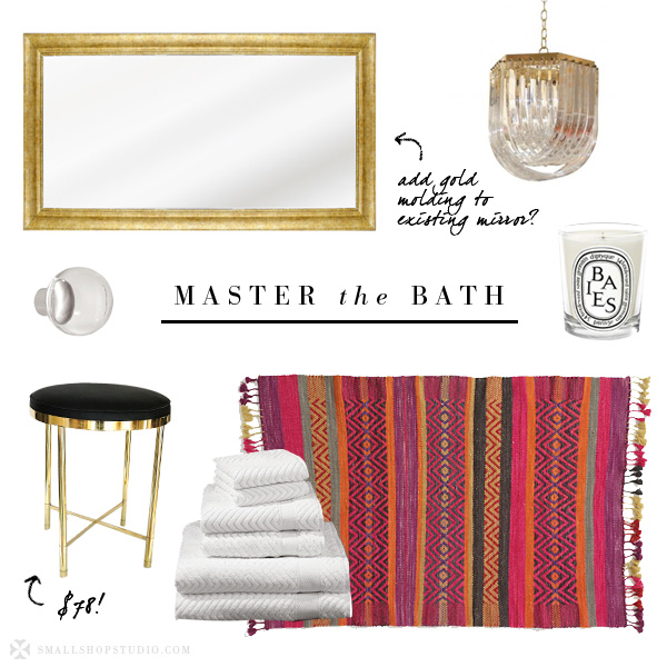 small shop: master the bath, lucite gold colorful rug brass