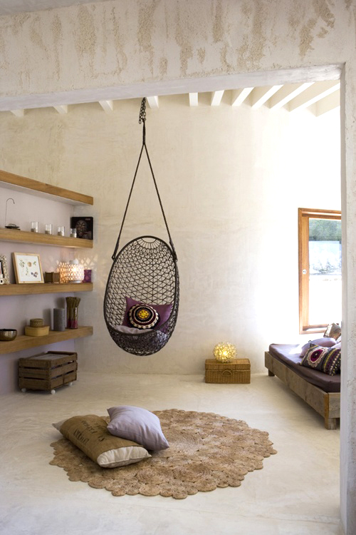 hanging chair moroccan style living room neutrals purples via