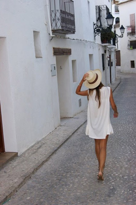 panama style and a hat to win. panama hat, white dress, Panama style,