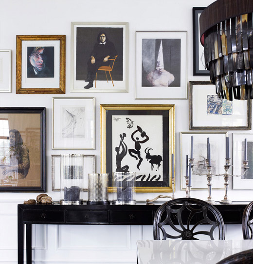 Classic eclectic in black white erika brechtel for Black dining room walls