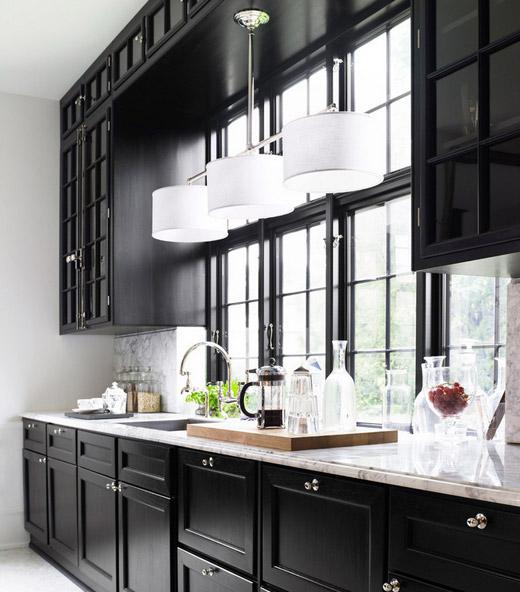 et Mikkelsen kitchen black cabinets marble countertop Lonny Dec 2012