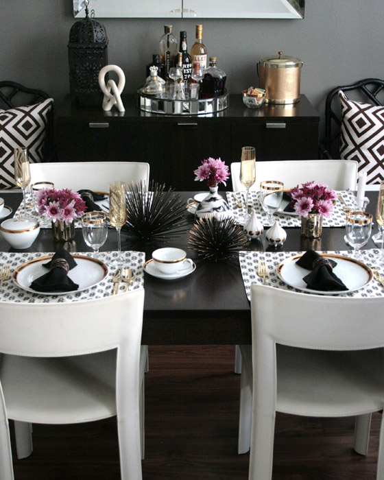 My modern glam table get the look with stone textile erika brechtel - Black and silver dining room set designs ...